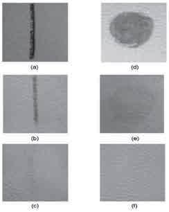 شکل - 5 لکّ ههای ) a( جوهر خودکار و ) d( خردل روی نمون ههای عم لنشده. بعد از 20 حرکت چر کسنج؛ لکّة جوهر خودکار باق یمانده روی نمون ههای ) b( عم لنشده و ) c( عم لشده با پلاسما، لکّة باقیماندة خردل روی نمون ههای ) e( عم لنشده و ) f( عمل شده با پلاسما.
