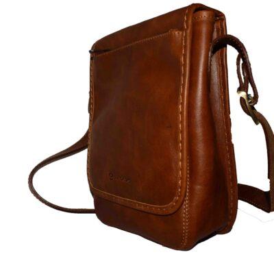 کیف دوشی باربد ساخته شده از چرم طبیعی گاوی تالس با آستر طبیعی